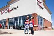 Verizon employees picket in front of a Verizon Wireless store near Bloomsburg, Pennsylvania.