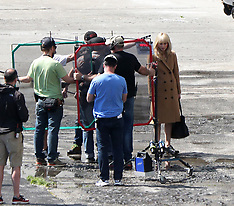 Slovakia:  Jennifer Lawrence seen wearing a blonde wig whilst filming Red Sparrow - 26 April 2017