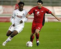 Fotball, Uefa cup, 15 September 2005, Brann - Lokomotiv Moskva, resultat 1-2, Martin Andresen, Brann, og Amougou Bikey, Moskva.