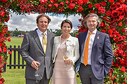 Anton Rupert Jr,  Rivier and Laurent Feniou at the Cartier Queen's Cup Polo 2019 held at Guards Polo Club, Windsor, Berkshire. UK 16 June 2019. <br /> <br /> Photo by Dominic O'Neill/Desmond O'Neill Features Ltd.  +44(0)7092 235465  www.donfeatures.com