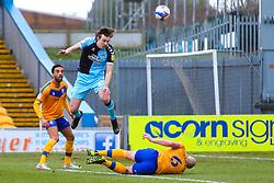 Joe Ironside of Cambridge United heads at goal - Mandatory by-line: Ryan Crockett/JMP - 20/02/2021 - FOOTBALL - One Call Stadium - Mansfield, England - Mansfield Town v Cambridge United - Sky Bet League Two