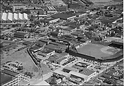"""Ackroyd 01668-1. """"Electric Steel Factory. Aerials. August 9, 1949"""" (5x7 negatives. Esco is a ten and a half acre site bounded by NW 26th, Nicolai, Wilson, NW 24th. Vaughn Street Baseball park is in these photos)"""