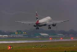 "January 3rd 2015, Heathrow Airport, London. Low cloud and rain provide ideal conditions to observe wake vortexes and ""fluffing"" as moisture condenses over the wings of landing aircraft. With the runway visible only at the last minute, several planes had to perform a ""go-round"", abandoning their first attempts to land. PICTURED: A wake vortex spirals off the wingtip of a British Airways Airbus A321 as it lands on Heathrow's Runway 27 Left."