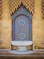 RABAT, MOROCCO - CIRCA APRIL 2017: Detail of exterior typical  Moroccan fountain at the Mausoleum of Mohammed V in Rabat.