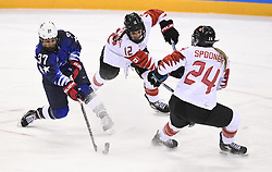 February 22, 2018 - Pyeongchang, South Korea - AMANDA PELKEY of the USA takes a shot on goal past MEAGHAN MIKKELSON  NATALIE SPOONER of Canada in the Women's Gold Medal Ice Hockey game Thursday, February 22, 2018 at Gangneung Hockey Centre at the Pyeongchang Winter Olympic Games. Photo by Mark Reis, ZUMA Press/The Gazette (Credit Image: © Mark Reis via ZUMA Wire)
