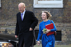 © Licensed to London News Pictures. 08/01/2019. London, UK.Chris Grayling - Secretary of State for Transport (L) and  Liz Truss - Chief Secretary to the Treasury (R) arrives in Downing Street for the weekly Cabinet meeting. Photo credit: Dinendra Haria/LNP