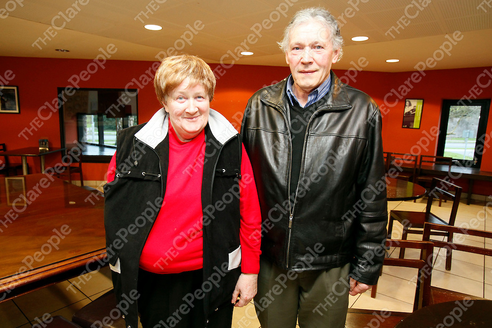 """01/04/11<br /> Mary Greene from Kilnamona pictured with Sean Custy from Dysert at """"The apple didn't fall far from the tree"""", a celebration of trad music from Clare families through the generations which took place at Glor Ennis.<br /> Picture: Don Moloney / Press 22"""