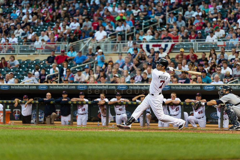 Joe Mauer #7 of the Minnesota Twins bats during a game against the Detroit Tigers on September 29, 2012 at Target Field in Minneapolis, Minnesota.  The Tigers defeated the Twins 6 to 4.  Photo: Ben Krause