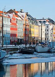 Winter view of famous Nyhavn harbour area in Copenhagen Denmark