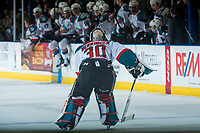 KELOWNA, CANADA - MARCH 24: Michael Herringer #30 of the Kelowna Rockets heads to the bench on a penalty call against the Kamloops Blazers on March 24, 2017 at Prospera Place in Kelowna, British Columbia, Canada.  (Photo by Marissa Baecker/Shoot the Breeze)  *** Local Caption ***