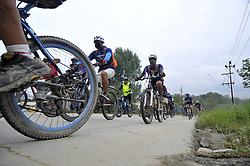 August 19, 2017 - Khokana, Patan, Nepal - Nepalese cyclist participate 20Km Ride to Khokana, Cycling for the Cause, Contribute to Restoring Cultural Heritage program from Kasthamandap to Khokana, organised by Khokana Reconstruction and Rehabilitation Committee on Saturday, August 19, 2017. (Credit Image: © Narayan Maharjan/NurPhoto via ZUMA Press)
