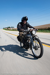 Ryan Allen riding his 1916 Indian Powerplus on the Motorcycle Cannonball coast to coast vintage run. Stage 6 (260 miles) from Bourbonnais, IL to Cedar Rapids, IA. Thursday September 13, 2018. Photography ©2018 Michael Lichter.