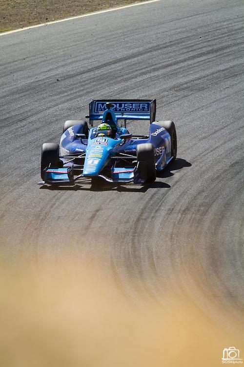 Sebastien Bourdais, #11, enters turn 6 during the GoPro Indy Grand Prix of Sonoma at Infineon Raceway in Sonoma, Calif., on Aug. 26, 2012.  Photo by Stan Olszewski/SOSKIphoto.