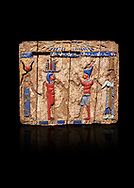 Ancient Egyptian fragments of a small wooded glass inlayed box depicting Egyptian Pharaohs , Ptolemaic Period, (322-30BC) BC, Tebtynis. Egyptian Museum, Turin. Cat 18155. Black background. .<br /> <br /> If you prefer to buy from our ALAMY PHOTO LIBRARY  Collection visit : https://www.alamy.com/portfolio/paul-williams-funkystock/ancient-egyptian-art-artefacts.html  . Type -   Turin   - into the LOWER SEARCH WITHIN GALLERY box. Refine search by adding background colour, subject etc<br /> <br /> Visit our ANCIENT WORLD PHOTO COLLECTIONS for more photos to download or buy as wall art prints https://funkystock.photoshelter.com/gallery-collection/Ancient-World-Art-Antiquities-Historic-Sites-Pictures-Images-of/C00006u26yqSkDOM