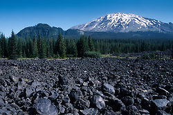 Volcanic Rocks and Mt. St. Helens from the South, Mt. St. Helens National Volcanic Monument, Washington, US