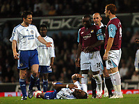 Photo: Tony Oudot.<br /> West Ham United v Chelsea. The Barclays Premiership. 18/04/2007.<br /> Didier Drogba of Chelsea lies injured after a challenge