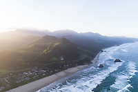 Aerial view of Cannon Beach, OR.