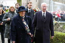 Sir Bobby Charlton and wife Norma Ball arriving at the funeral service for Gordon Banks at Stoke Minster.