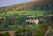 Sudeley Castle in the landscape, Winchcombe, The Cotswolds, Gloucestershire, UK