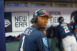 March 26, 2018 - Atlanta, GA, U.S. - ATLANTA, GA - MARCH 26: Atlanta Braves SS Ozzie Albies (1) doing an on-air interview during the MLB Spring Training baseball game between the New York Yankees and the Atlanta Braves on March 26, 2018 at Suntrust Field in Atlanta, Ga. (Photo by John Adams/Icon Sportswire) (Credit Image: © John Adams/Icon SMI via ZUMA Press)