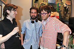 Left to right, FIONNAN HONAN, JACK GUINNESS and ISAAC FERRY at the opening of the new Jack Spade store at 83 Brewer street, London on 29th March 2012.