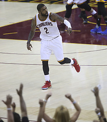 June 9, 2017 - Cleveland, OH, USA - The Cleveland Cavaliers' Kyrie Irving reacts after hitting a 3-point shot late in the fourth quarter against the Golden State Warriors during Game 4 of the NBA Finals at Quicken Loans Arena in Cleveland on Friday, June 9, 2017. The Cavs won, 137-116, trimming their series deficit to 3-1. (Credit Image: © Phil Masturzo/TNS via ZUMA Wire)