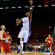 Anadolu Efes's Stephane Lasme (C) during their Turkish Basketball League match Anadolu Efes between Galatasaray at Abdi Ipekci Arena in Istanbul Turkey on Sunday 01 March 2015. Photo by Aykut AKICI/TURKPIX