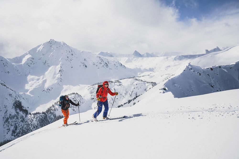 Travis Green and Torrey Udall make their way to Caribou Peak, Meadow Hut, Esplanade Range, BC.