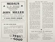 All Ireland Senior Hurling Championship Final,.Brochures,.02.09.1945, 09.02.1945, 2nd September 1945,.Tipperary 5-6, Kilkenny 3-6, .Minor Dublin v Tipperary, .Senior Tipperary v Kilkenny, .Croke Park, ..Advertisements, John Miller Manufacturing Goldsmith Jeweller and Medallist, Elvery's are Good, ..Poems, The Boatman of Kinsale,