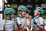 Drops Racing Team share a laugh at the sign-on at  the Matrix Fitness Grand Prix Series, Round 5, Croydon, United Kingdom on 7 June 2016. Photo by Martin Cole.