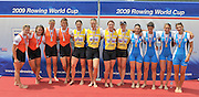 Banyoles, SPAIN, left NED W4X, Silver Medalist Centre, GBR W4X, Katie GREVES, Beth RODFORD, Anna BEBINGTON and Annie VERNON, Gold Medalist Women's Quadruple Sculls.  right ITA W4X bronze medalist.  FISA World Cup Rd 1. Lake Banyoles.  Sunday,  31/05/2009   [Mandatory Credit. Peter Spurrier/Intersport Images]