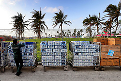 Bottled water is offloaded from the Royal Caribbean's Mariner of the Seas cruise ship after arriving in Freeport, Bahamas, on Saturday, September 7, 2019. Photo by Joe Burbank/Orlando Sentinel/TNS/ABACAPRESS.COM