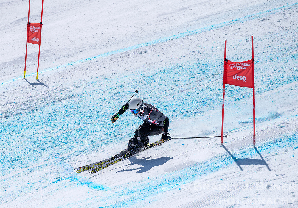 Jed Stevens weaves through the gates on the Jackson Hole Downhill course during the finals of the Individual Pro class Sunday at Jackson Hole Mountain Resort.