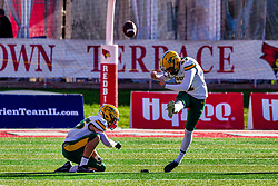 NORMAL, IL - October 16: Kaedin Steiindorf kicks off during a college football game between the NDSU (North Dakota State) Bison and the ISU (Illinois State University) Redbirds on October 16 2021 at Hancock Stadium in Normal, IL. (Photo by Alan Look)