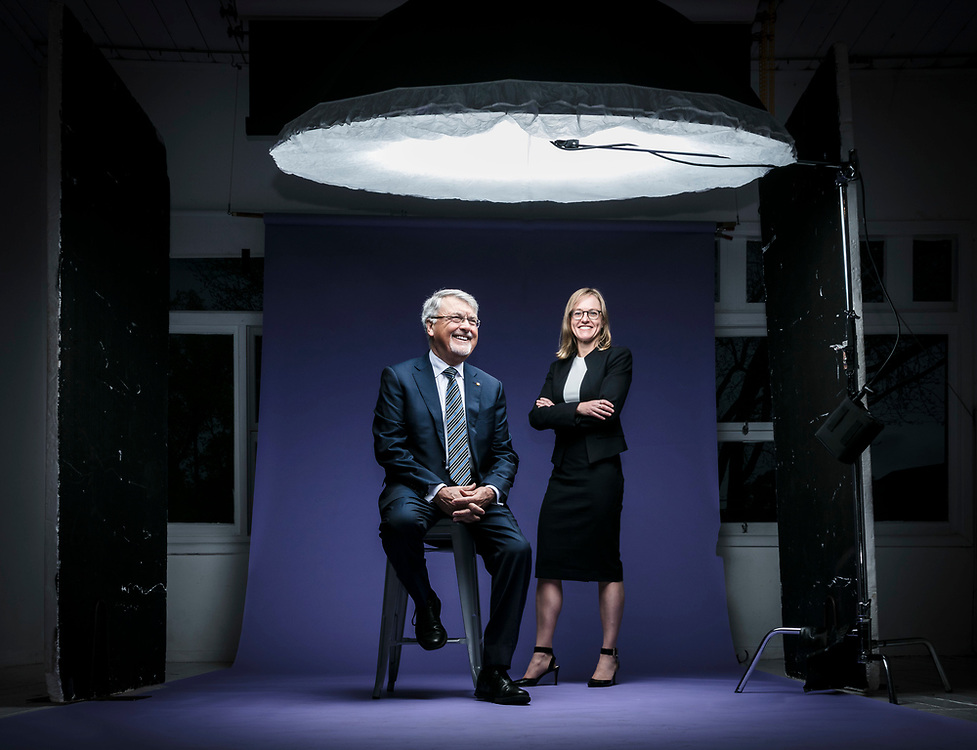 Peter Shergold and Kristy Muir who work together at the Centre for Social Impact.<br /> <br /> A wider picture showing a heavily top-lit studio lighting technique, shot at the studio in Balmain, Sydney