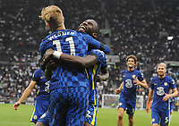 Football - 2021 / 2022  Premier League - Tottenham Hotspur vs Chelsea - Tottenham Hotspur Stadium - Sunday 19th September 2021<br /> <br /> Antonio Rudiger of Chelsea celebrates scoring goal no 3<br /> with Timo Werner<br /> <br /> Credit : COLORSPORT/Andrew Cowie