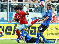 "Empoli (Florence, Italy) Stadium ""Carlo Castellani"" Match day 4 Serie A Campionship Empoli F.C.-S.S.C.Napoli September 23:<br /> Moro of Empoli (R) and Lavezzi of Napoli (L) during the match on September 23, 2007 in Empoli, Italy.<br /> Photo by Gianni Nucci/Insidefoto"