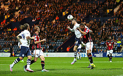 Will Keane of Preston North End wins a header  - Mandatory byline: Matt McNulty/JMP - 07966386802 - 22/09/2015 - FOOTBALL - Deepdale Stadium -Preston,England - Preston North End v Bournemouth - Capital One Cup - Third Round