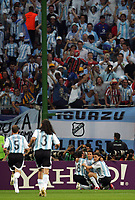 Hamburg 10/6/2006 World Cup 2006<br /> <br /> Argentina Cote d'Ivoire - Argentina Costa d'Avorio 2-1<br /> <br /> Photo Andrea Staccioli Graffitipress<br /> <br /> Javier SAviola celebrates after scoring<br /> <br /> Javier SAviola festeggia con i compagni