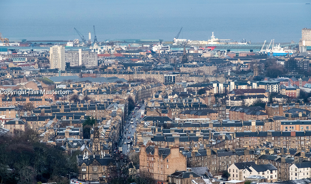 View over district of Leith in Edinburgh, Scotland, United Kingdom.