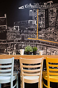 Interior of a cafe in Dublin with city map on wall on 3rd April 2017 in Dublin, Republic of Ireland. Dublin is the largest city and capital of the Republic of Ireland, it's on Ireland's east coast at the mouth of the River Liffey.