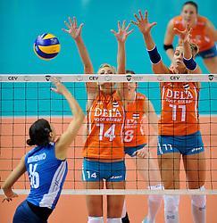 10-11-2011 VOLLEYBAL: PRE OKT NEDERLAND - ISRAEL: POREC<br /> Nederland wint vrij eenvoudig met 3-0 van Israel / Laura Dijkema, Caroline Wensink<br /> ©2011-FotoHoogendoorn.nl