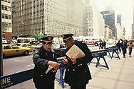 Security for President Ronald Reagan at a fund raiser for Senator Alfonse D'Amato  at the Waldorf Reagan years Astoria Hotel in New York on April 18, 1986.<br />Photo by Dennis Brack