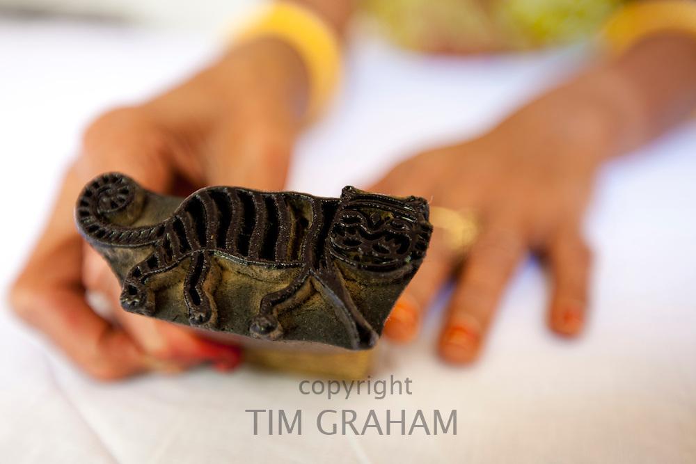 Indian tiger motif die stamping pad at Dastkar women's craft co-operative, Ranthambore Artisan Project, Rajasthan, India