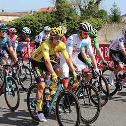 Tour de France 2020  <br /> Jumbo-Visma rider Primoz Roglic (Slovenia / Team Jumbo - Visma) in yellow and white jersey Tadej Pogacar (Slovenia / UAE Team Emirates)