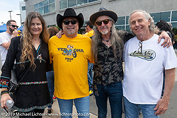 Cris Simmons (L>R), Kurt Rumens, Pat Simmons and Mark Allen at the Arlen Ness Memorial - Celebration of Life at the Arlen Ness Motorcycles store. Dublin, CA, USA. Saturday, April 27, 2019. Photography ©2019 Michael Lichter.