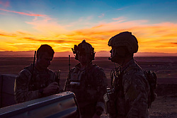 Members of the 124th Air Support Operations Squadron work with A-10 pilots from the Idaho Air National Guard's 190th Fighter Squadron during a night mission at the Saylor Creek Range September 25, 2018. The 124th ASOS provides boots-on-ground communication to pilots in support of close-air-support missions. (U.S. Air National Guard photo by Tech. Sgt. John Winn)