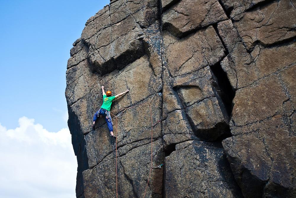 climbing 'High Street Blues' E5 6a at Sennen, Cornwall, England