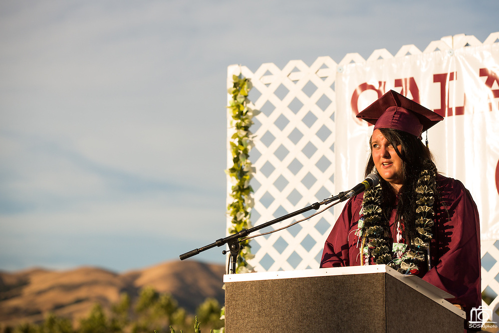Cal Hills High School senior Angelica Heille speaks to the Cal Hills High School Class of 2013 during the graduation at the Milpitas Sports Center in Milpitas, California, on June 6, 2013. (Stan Olszewski/SOSKIphoto)