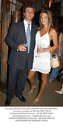 Polo player RODDY WILLIAMS and MISS AMANDA SHEPPARD, at a party in London on 20th July 2004.PXJ 72